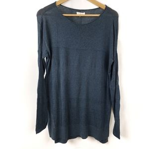 Lou & Grey Blue High Low Sweater Crewneck